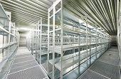 image of warehouse  - New modern metal warehouse shelves construction - JPG