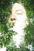 picture of combine  - Double exposure portrait of attractive lady combined with photograph of tree - JPG