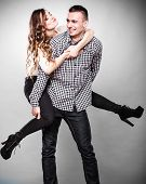 stock photo of piggyback ride  - Love people and happiness oncept - JPG