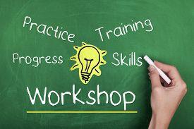 foto of chalkboard  - Workshop practice progress training skills words on chalkboard - JPG