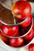 image of serving tray  - Tasty ripe apples on serving tray close up - JPG