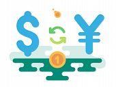 stock photo of yen  - Dollar Yen Currency Exchange concept vector illustration flat design - JPG