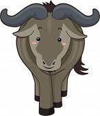 stock photo of flush  - Cutesy Illustration of a Wildebeest with Flushed Cheeks - JPG
