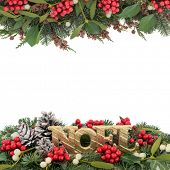 picture of snow border  - Christmas background border with gold noel sign - JPG