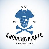 stock photo of pirates  - The Grinning Pirate Sailing Crew Abstract Vector Retro Logo Template or Vintage Label with Typography - JPG