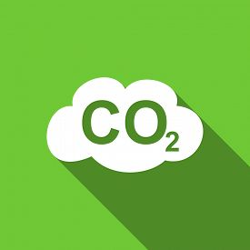 pic of carbon-dioxide  - carbon dioxide flat icon co2 sign original modern design green flat icon for web and mobile app with long shadow  - JPG