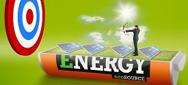 pic of solar battery  - Businessman shooting a bow and arrow against solar panels in a sunny field in an energy saving battery - JPG