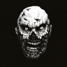 picture of madman  - zombie head hand drawn - JPG