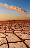 Industrial destruction, global warming concept