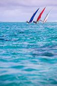 Sailing regatta in Mauritius. Colorful traditional Mauritian wooden boats called