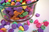Candy Hearts In Dish