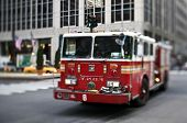NYFD vehicle in midtown Manhattan (selective focus - tilt shift lens used ->looks like a tiny toy)