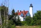 stock photo of iroquois  - Point Iroquois Lighthouse from Lake Superior