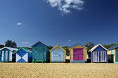 stock photo of beach hut  - Bathing Boxes at Brighton Beach - JPG