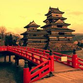 stock photo of yellow castle  - Matsumoto Castle - JPG