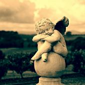 stock photo of stone sculpture  - Garden Sculpture in Sepia - JPG