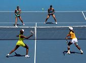 MELBOURNE, AUSTRALIA - JANUARY 24: Doubles match Serena & Venus Williams vs Andrea Hlavackova &  Luc
