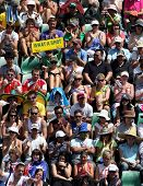 MELBOURNE, AUSTRALIA - JANUARY 26: Crowd watch a tennis game at the 2010 Australian Open at Rod Lave