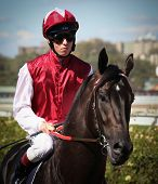 MELBOURNE - MARCH 13: Jockey Kerrin McEvoy on Denman before the start of the Crown Guineas, won by R