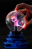 picture of lightning-rod  - Purple and Blue Streaks of Electricity from a plasma tesla ball - JPG