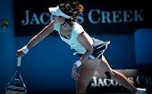 MELBOURNE - JANUARY 27: Li Na of China  in her semi final win over Caroline  Wozniacki of Denmark in the 2011 Australian Open on January 27, 2011 in Melbourne, Australia