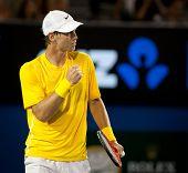 MELBOURNE - JANUARY 25: Tomas Berdych of the Czech Republic in his quarter final loss to Novak Djokovic of Serbia in the 2011 Australian Open final.  January 25, 2011 in Melbourne, Australia.