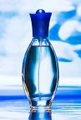 Blue beautiful bottle of perfume