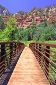 Wooden Bridge And Mountain