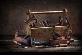 Still Life - Old Wooden Tool Box poster