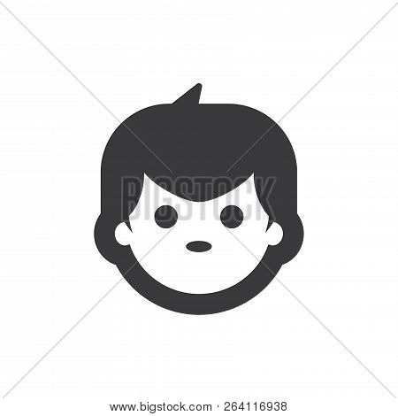 Boy Face Vector Icon On