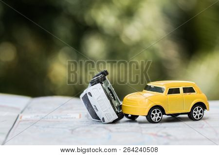 poster of Vehicle Insurance Car Accident Concept :  Miniature Cars Accident Crash On Road, Broken Toys Auto Ca