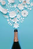Flower Arrangement. Flowers, Fragrance, Champagne Bottle Background poster