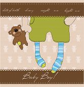 picture of happy baby boy  - Baby Boy arrival announcement card with plush bear - JPG
