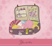 Baby Girl in Koffer Anreise Karte