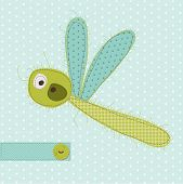 Greeting card with Dragonfly - for scrapbook, invitation, celebration with place for your text