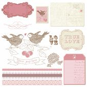 Elementos de diseño de bloc de notas - aves en amor