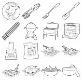 Barbecue Tools Icons Set. Outline Illustration Of 16 Barbecue Tools Icons For Web poster