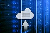 Cloud Storage, Data Access, Login And Password Request Window On Server Room Background. Internet An poster