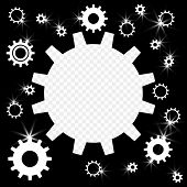 The Gears Are Shiny, Silver With Highlights On A Transparent Background. Frame In The Form Of Gears  poster