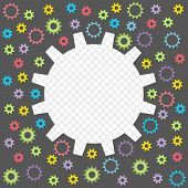 Colored Baby Gear Isolated On A Transparent Background. Frame In The Form Of Gears With The Possibil poster