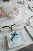 Baby blue wedding gift box place setting series 05