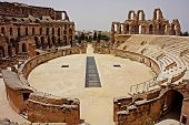 El Djem Amphitheatre Panorama. Panorama Of Central Podium And The Whole Roman Amphitheater, With Cit poster