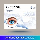 Vector Medicine Package Template With Realistic Eye. Box With Medical Accessories For Eye Care, Used poster