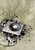 grunge background and turntable, ideal for electronic dance music events