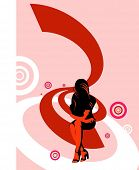 vector illustration,beauty woman silhouette on abstract geometry wave background,change color and si