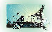 Постер, плакат: художественные векторные иллюстрации партия Флаер дизайн описанием девочка сидит возле завода эродированных grun