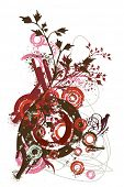 elementos de diseño del vector abstracto, grunge erosionadas círculos, borrones de tinta, decoración floral