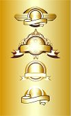 4 different award designs golden shields with ribbons,vector illustration