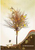 Ilustración de vector de árbol otoño