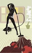 attractive house-maid cleaning with vacuum cleaner ,vector illustration